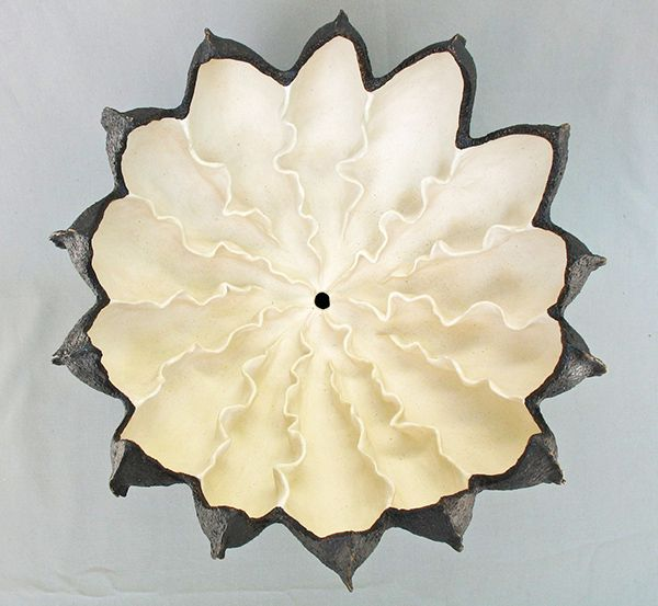 Elizabeth Shriver Ceramics: Dark Blossom, top view
