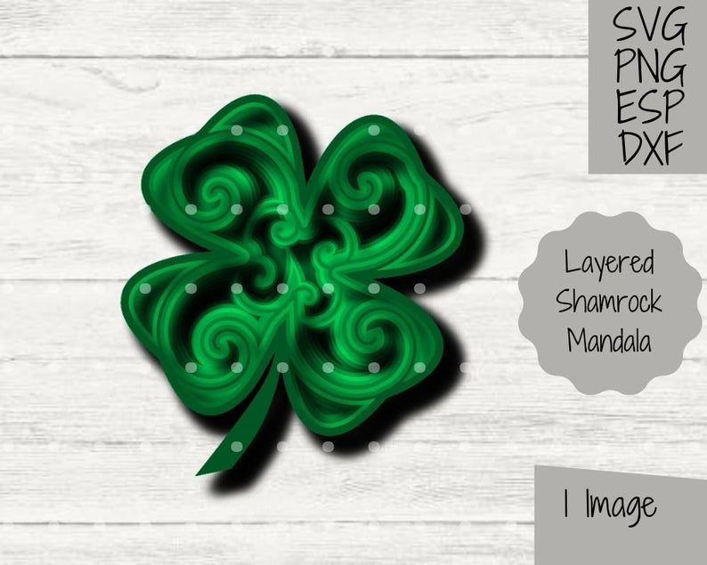 Shamrock 3D Mandala SVG Layered File Cricut and Silhouette Paper Cutting Craft Project Four Leaf Clover Clipart St Patricks Day Craft PNG