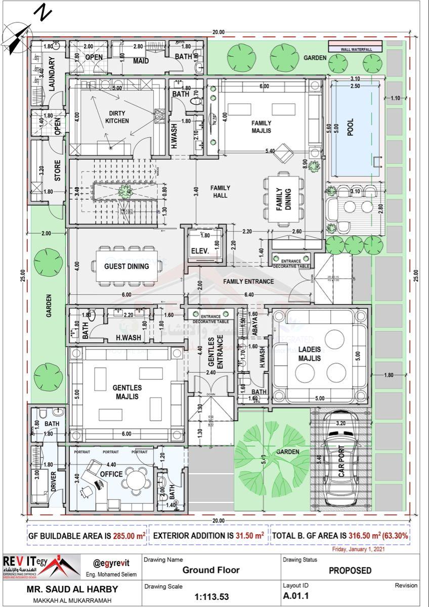 تصميم دور ارضي فيلا ٢٠ في ٢٥ مساحة ٥٠٠ م٢ في مكه In 2021 Architectural Floor Plans New House Plans Villa Plan