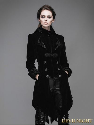 Black Vintage Gothic Swallow Tail Jacket for Women  d9e4e6e2513