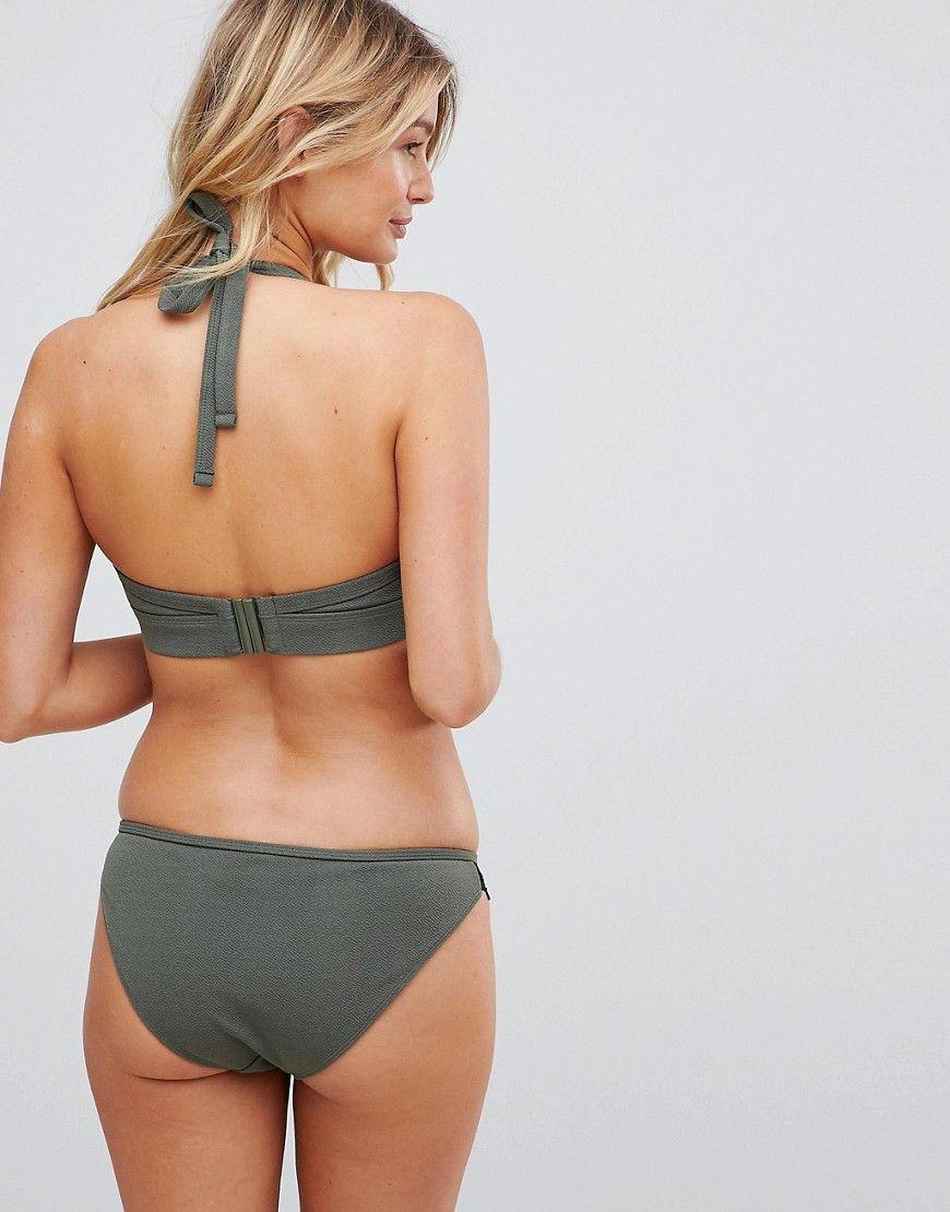 b08ac117f7b9ab Wolf & Whistle Exclusive lace trim bikini bottom in khaki in 2019 ...