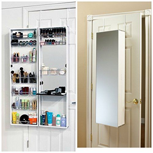 Mirror Cosmetic Make Up Beauty Organizer Over Door Wall Hang Space Saving White Details Can Be Foun Over The Door Mirror Mirror Door Jewelry Storage Cabinet