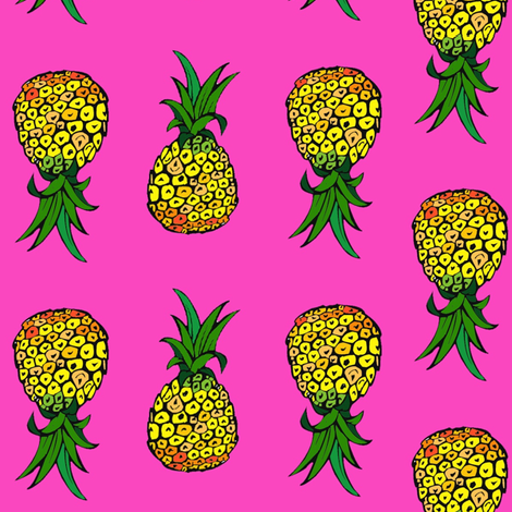 Pineapple Party on Pink fabric by theartwerks on Spoonflower - custom fabric