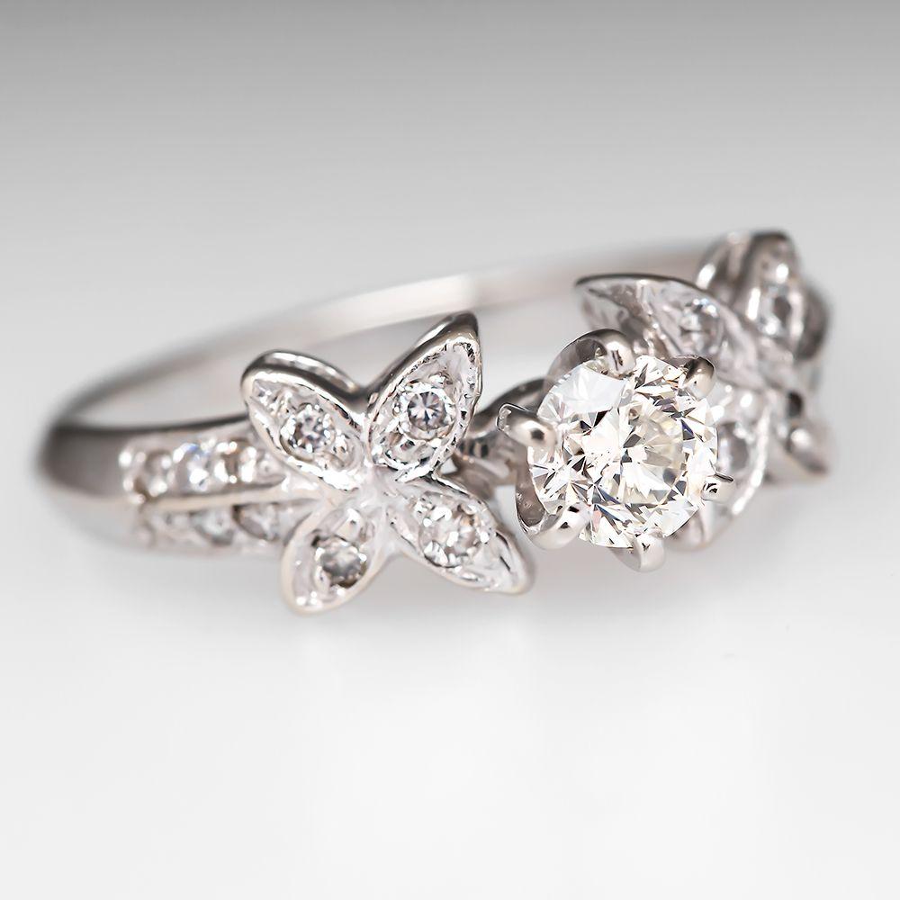 14K White Gold .45 Carat Diamond Floral Engagement Ring