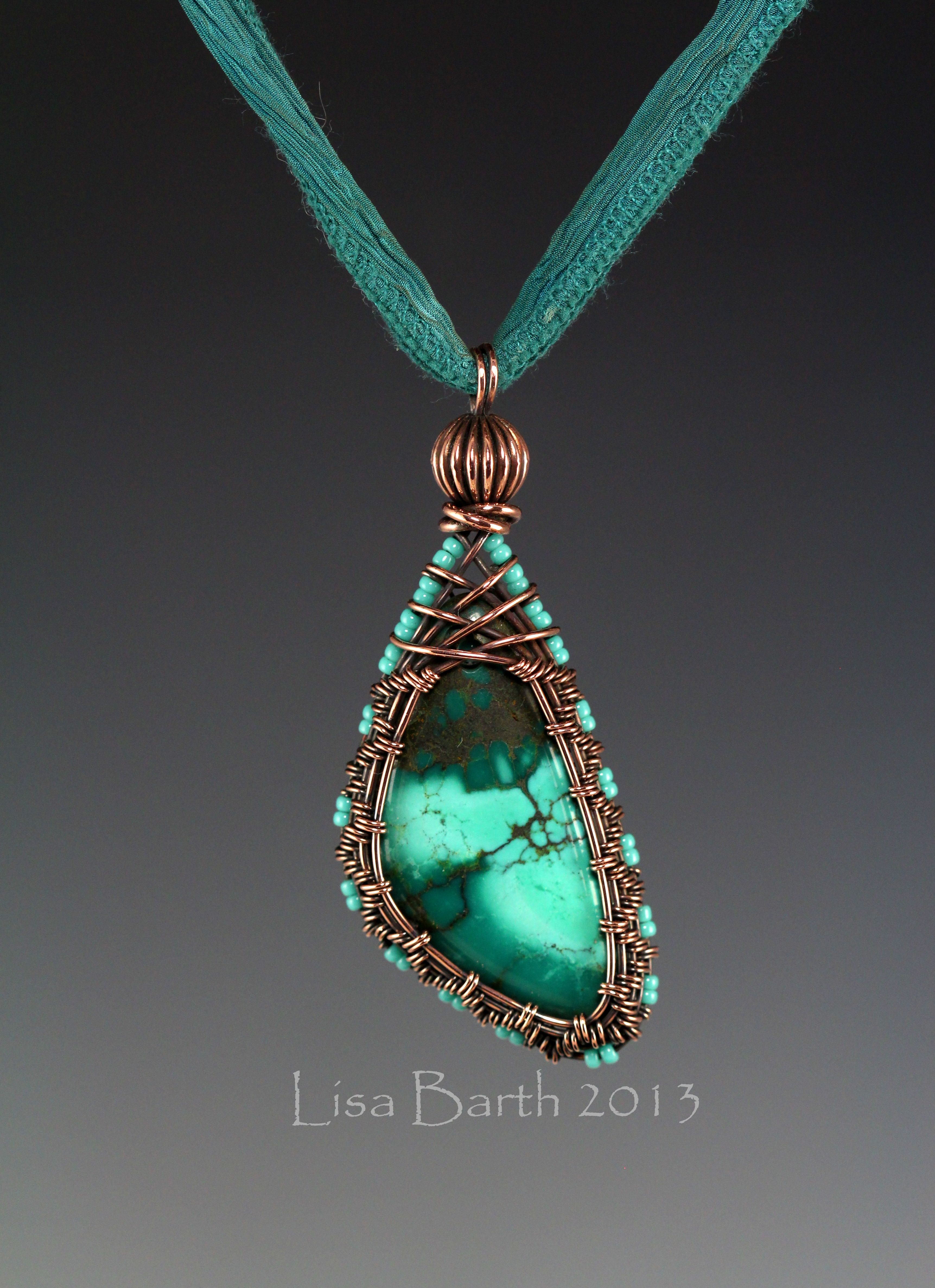 """""""Here is a woven bezel I made for fun.  Wire weaving is therapeutic for me so I just love to sit and weave.  This stone is Chinese Turquoise."""" -- Lisa Barth"""