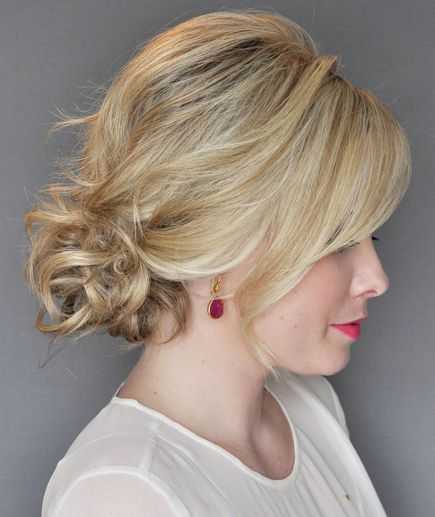 How To Do The Messy Side Updo With A Twist Short Hair Updo Side Updo Curly Hair Styles