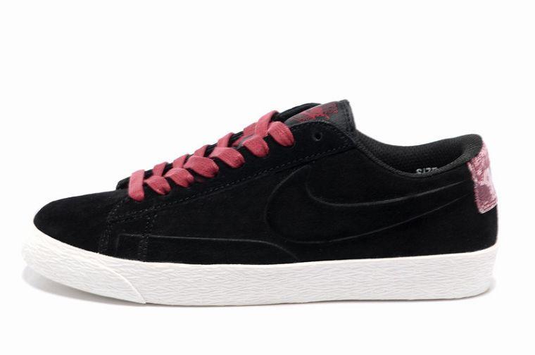 Top1 Nike Blazer Low Women Suede VT Black-Burgundy For UK Sale