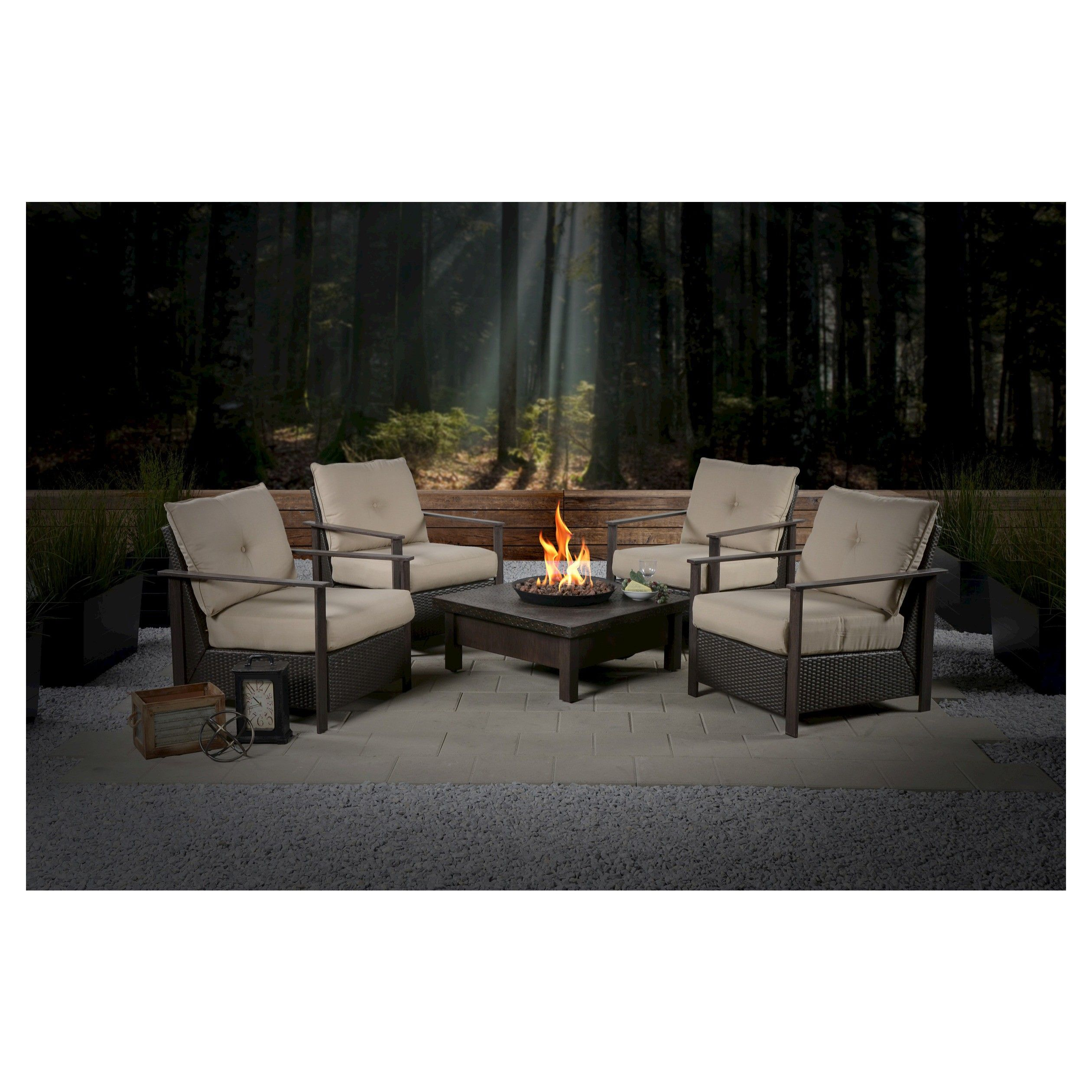 larkspur 5 piece wicker patio fire pit set fire pit sets patio