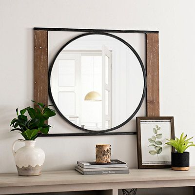 Wood And Metal Framed Round Industrial Mirror Industrial Mirrors Wood And Metal Mirror Decor Wood and metal mirror