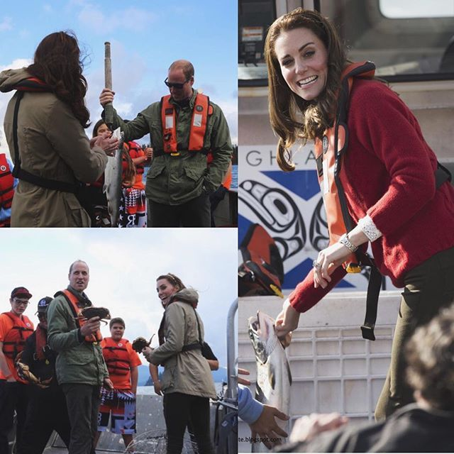 They then had a spot of fishing and Kate seemed a bit squeamish as she picked up a fish!