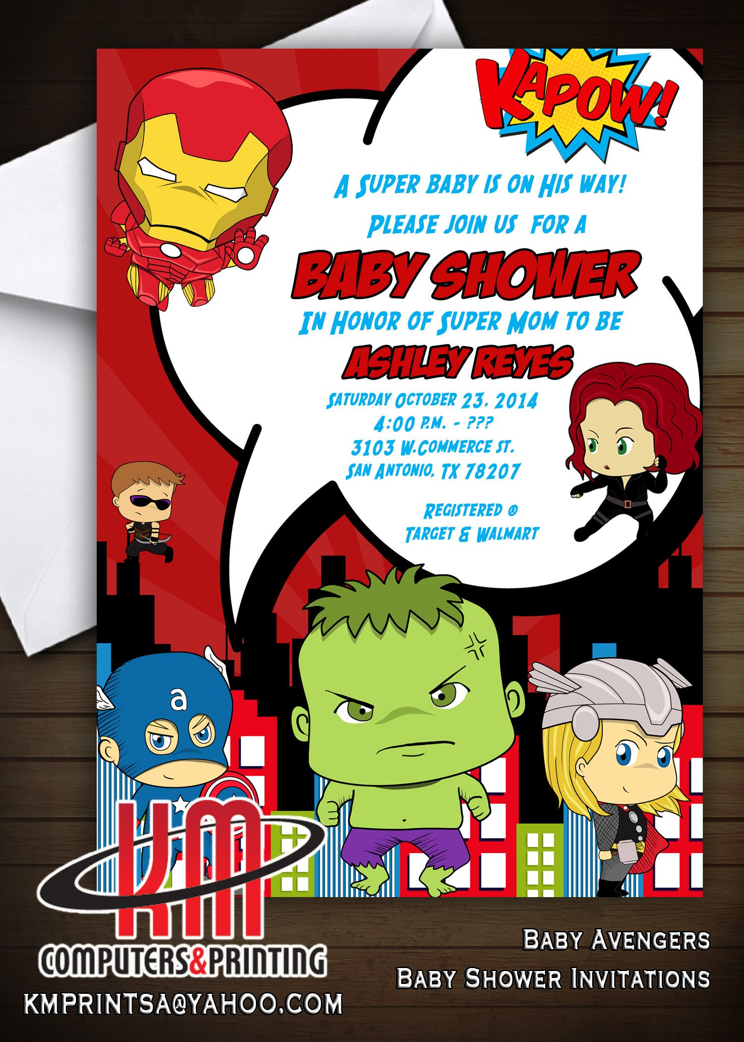Superhero Baby Shower Baby Avengers Invitations Digital Or Printed Available