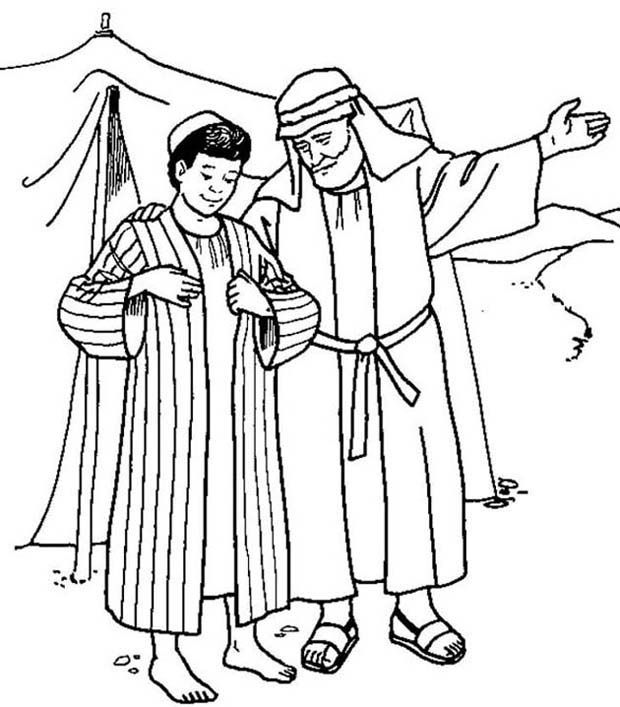Joseph Receives The Coat Of Many Colours From His Father Jacob Sunday School Coloring Pages Bible Coloring Pages Bible Coloring