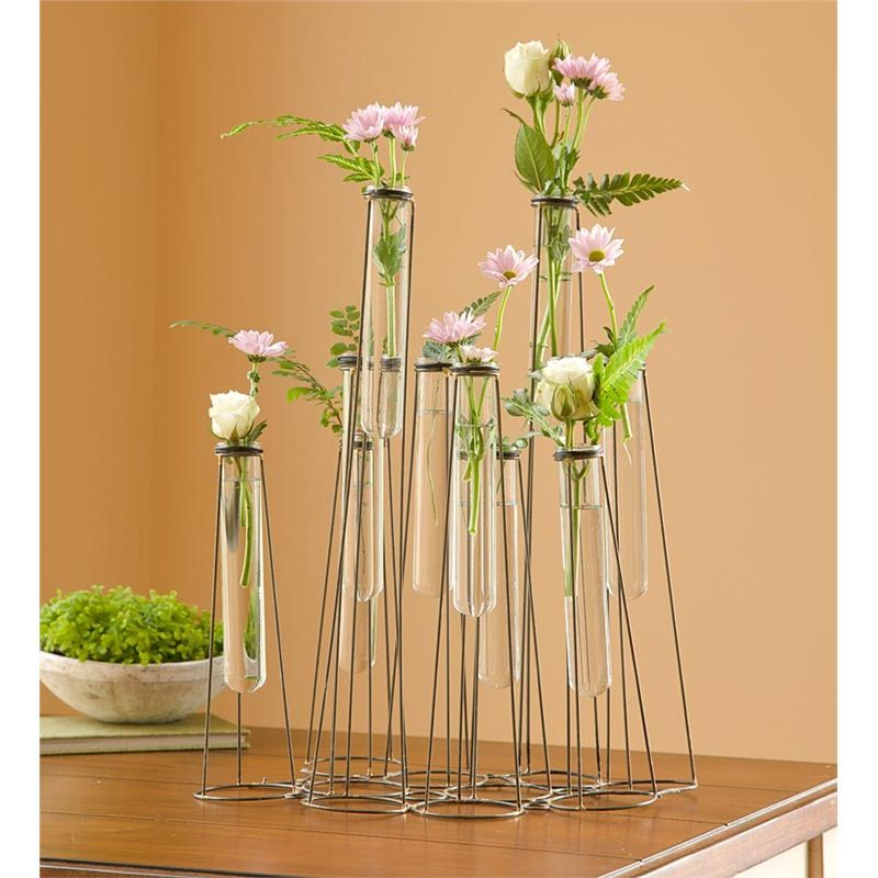 Stilt Glass Test Tube Vase in Metal Garden Wall Art | our southern ...
