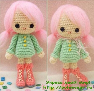 Кукла в платье амигуруми схема