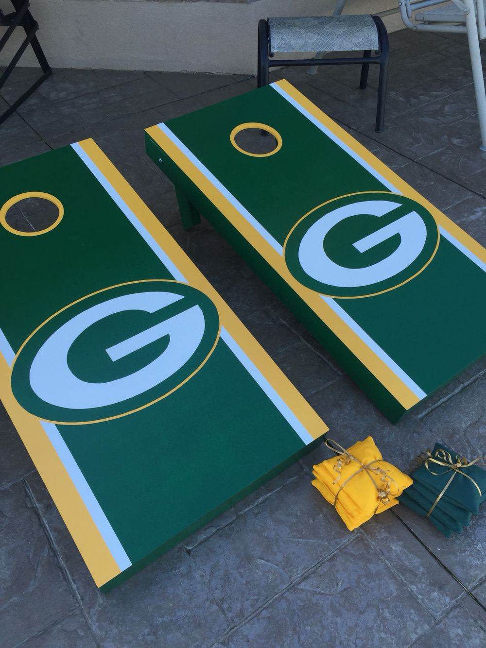 homemade greenbay packer cornhole set built using online tips buy a hole - Cornhole Boards For Sale