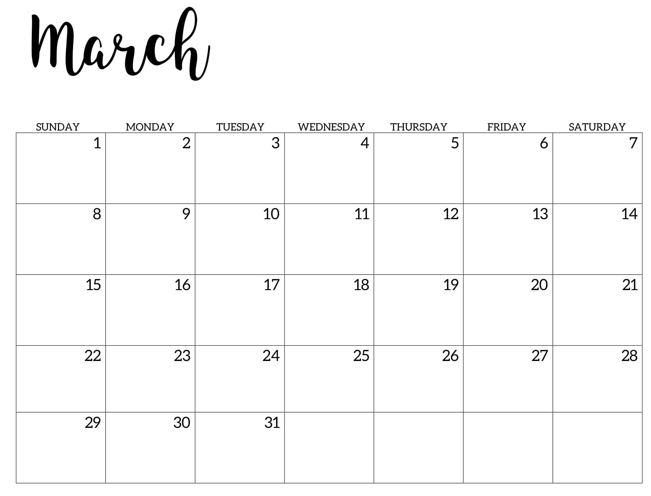 March Calendar 2020 Pdf In 2020 Calendar Template Calendar 2020 Calendar Word