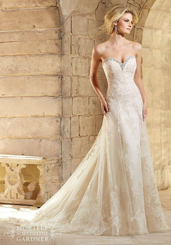 Crystal Beading Trims the Net Gown Decorated with Embroidered Lace ...