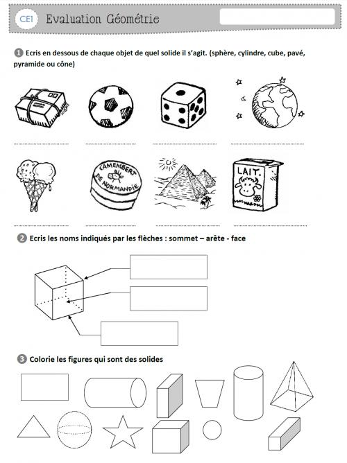 Les Solides Evaluation Geometrie Ce1 Maths Ce1 Evaluation Geometrie Ce2