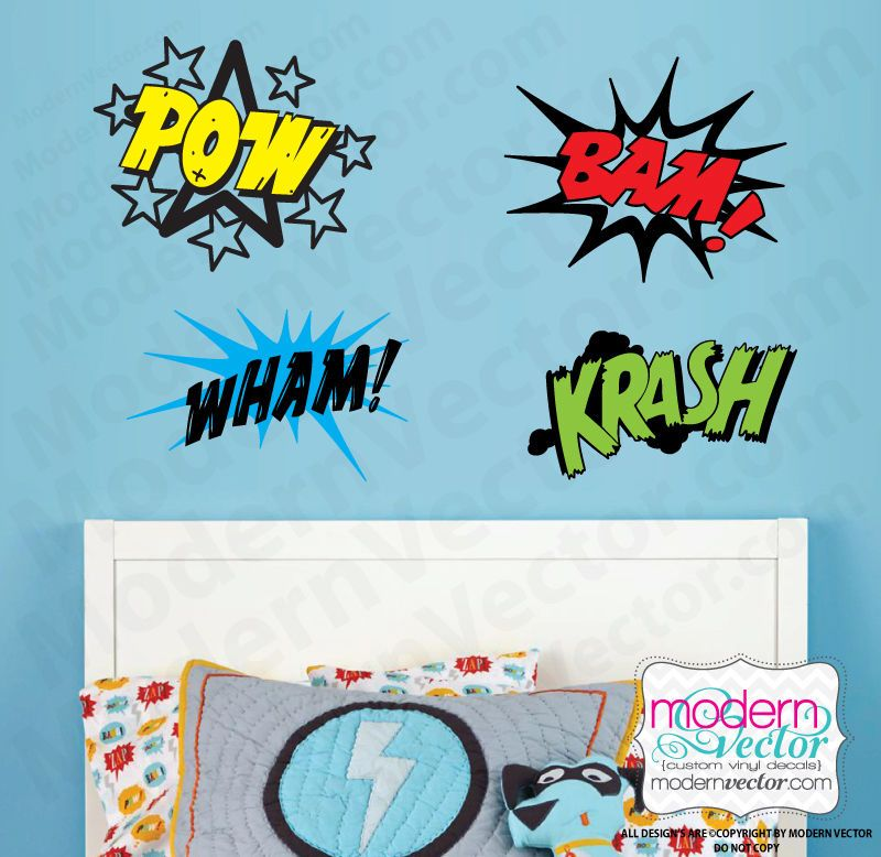 Details About COMIC BOOK Word Splats Text Bubbles Vinyl Wall Decal - Vinyl vinyl wall decals bubbles