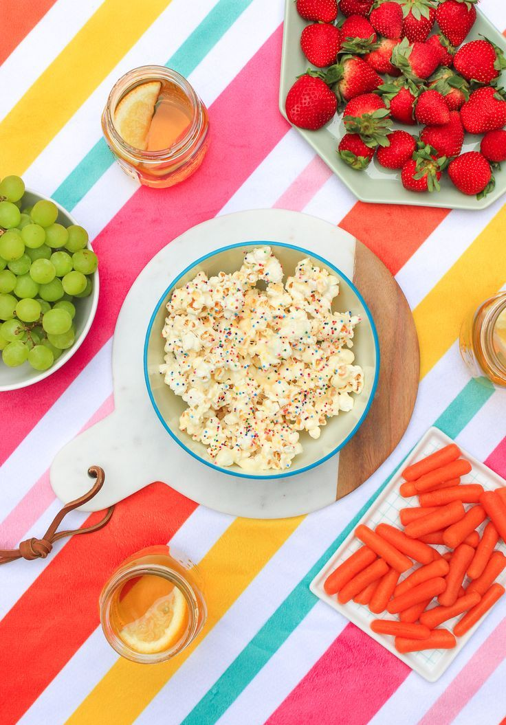 Colorful summer picnic ideas including a DIY picnic blanket and picnic recipes!