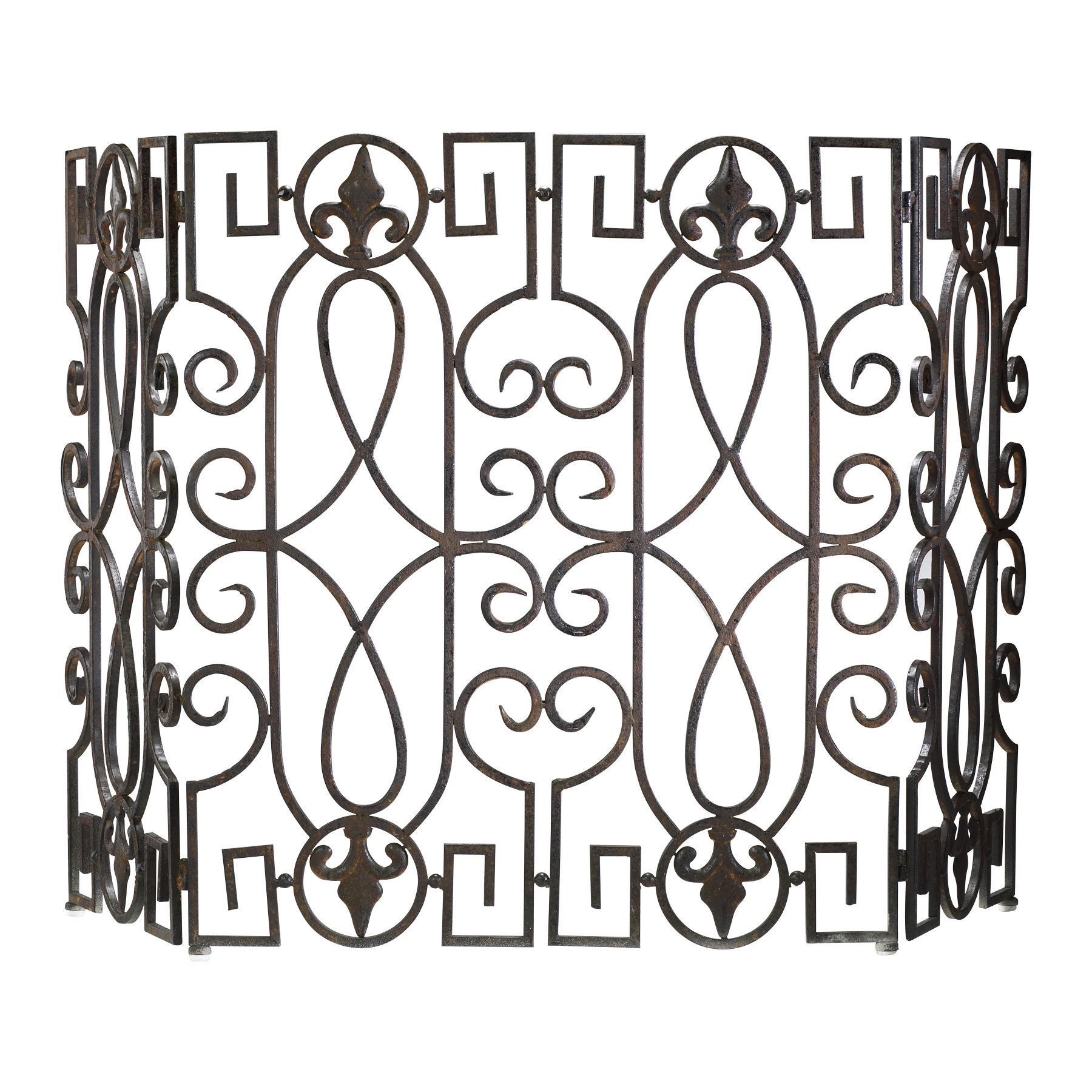 Wrought Iron Mediterranean Fireplace Screen By Cyan Design Decorative Fireplace Screens Wrought Iron Fireplace Screen Fireplace Accessories