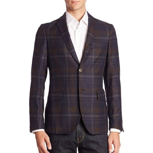 Etro Plaid Wool Sportcoat ($1,395) ❤ liked on Polyvore featuring men's fashion, men's clothing, men's sportcoats, apparel & accessories, multicolor and etro