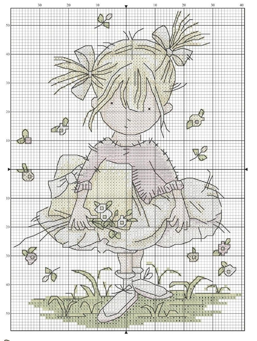Little girl with pigtails | counted cross | Pinterest