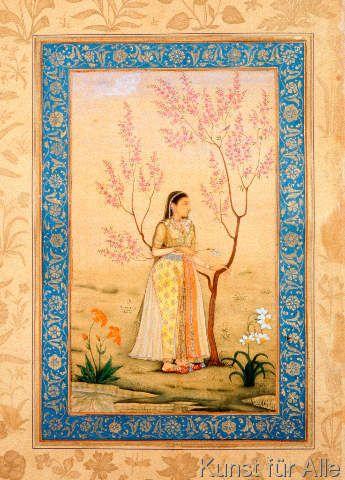 Indische Miniatur - Junge Frau unter Baum/indisch/1633-42 (64,0 x 89,0 cm)