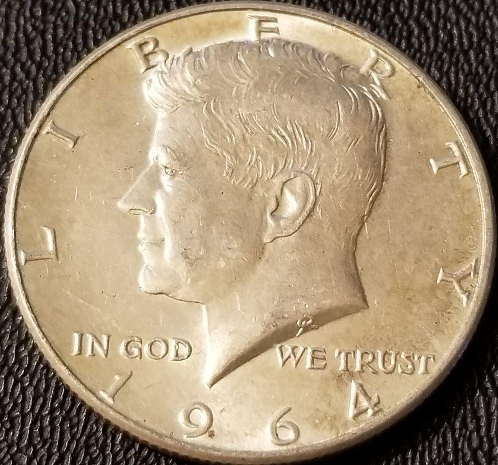 """1964 Kennedy Half Dollar 90/% SILVER US Mint Coin /""""About Uncirculated/"""""""
