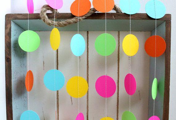 Pink, Orange, Yellow, Green, Turquoise Blue 12 ft Circle Paper