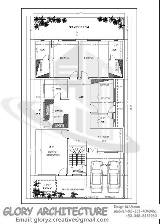 40x80 house plan g 15 islamabad house map and drawings