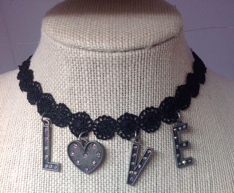 ❤️LOVE/Black Lace Necklace Choker/Black Choker/Flower Ribbon Choker/Spread the Love/Love Necklace/Love Choker/Love Letters by icusuezq on Etsy https://www.etsy.com/listing/499172624/loveblack-lace-necklace-chokerblack