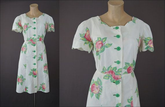 1940s Apple Print Cotton Dress with Green Plastic Buttons - fits 37 inch bust, flaws by dandelionvintage