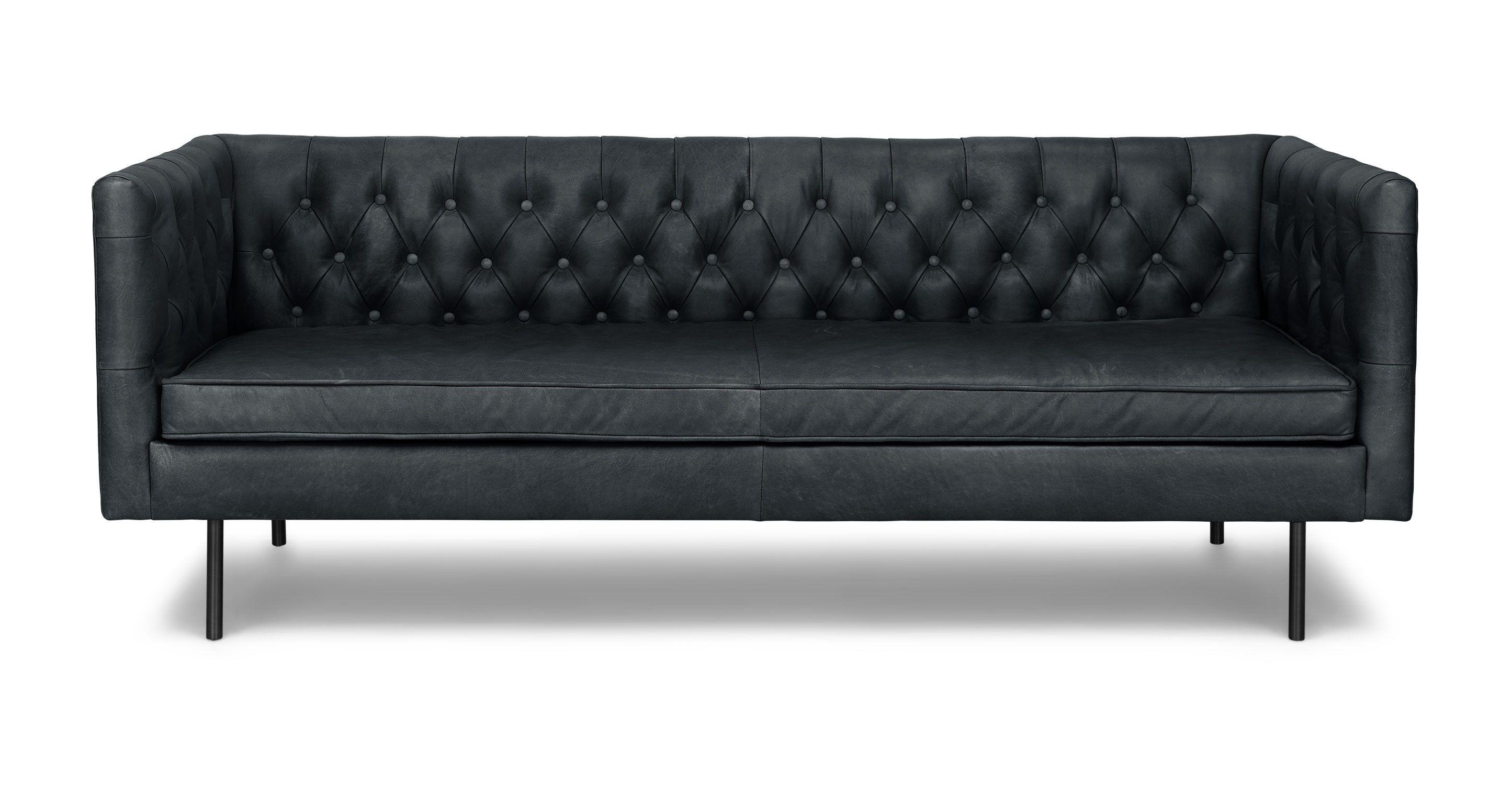 Black Leather Tufted Sofa Metal Legs