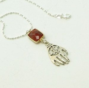Hamsa Hand and Ruby in Sterling Silver. Hand of Fatima. by INJIJEWELRY on Etsy