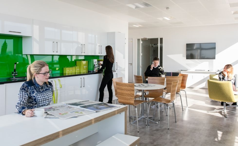 Funky office kitchen design Bright light and spacious