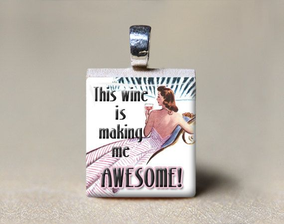 Retro woman scrabble tile pendant this wine is making me awesome retro woman scrabble tile pendant this wine is making me awesome funny gift aloadofball Image collections