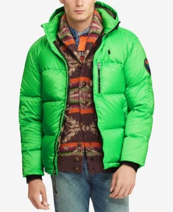 bec65a6de Polo Ralph Lauren Men's Great Outdoors Repellent Down Coat - Neon Green M