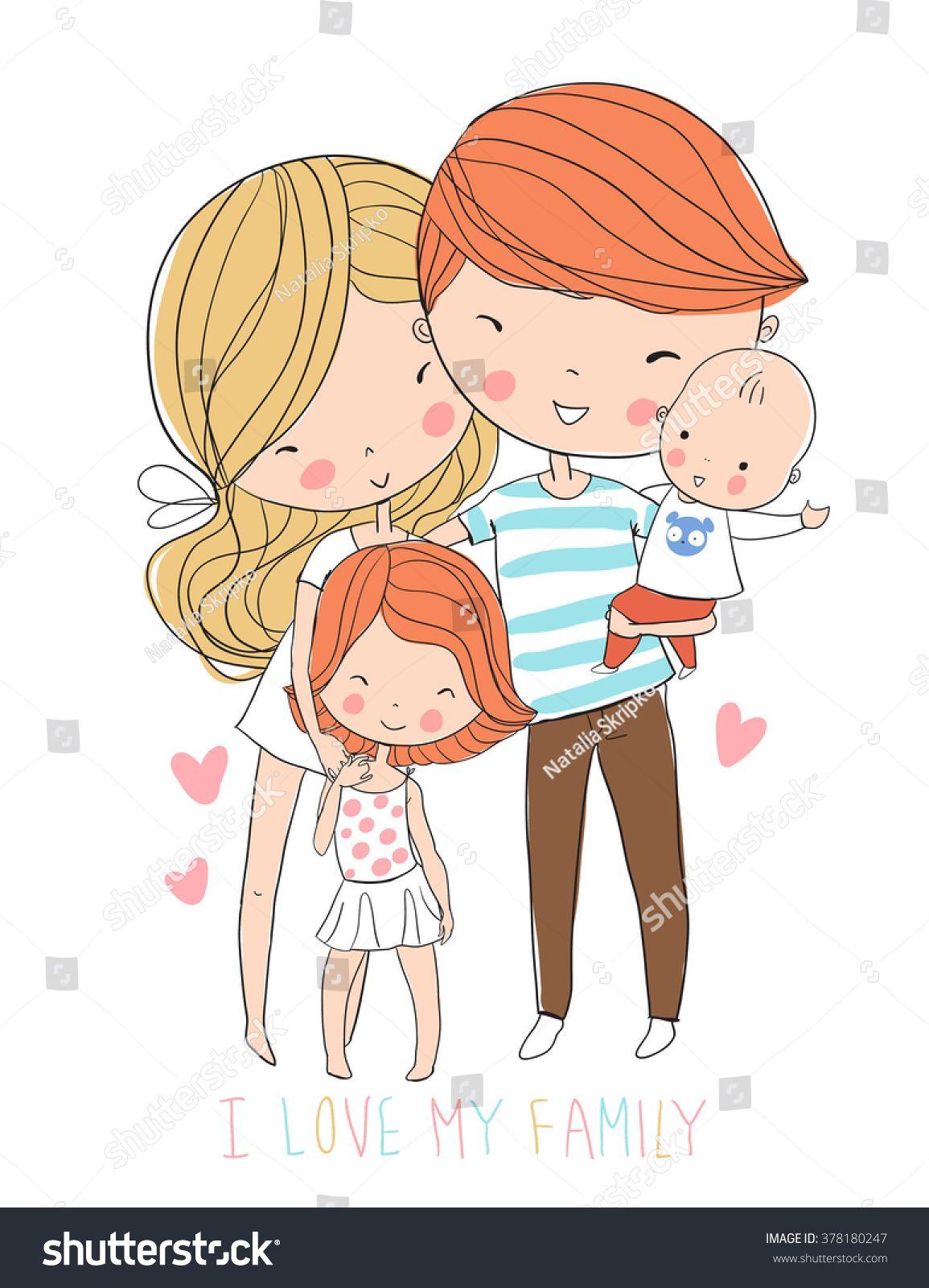Happy Family Goruntuler Ile Cizimler Illustrasyonlar Doodle
