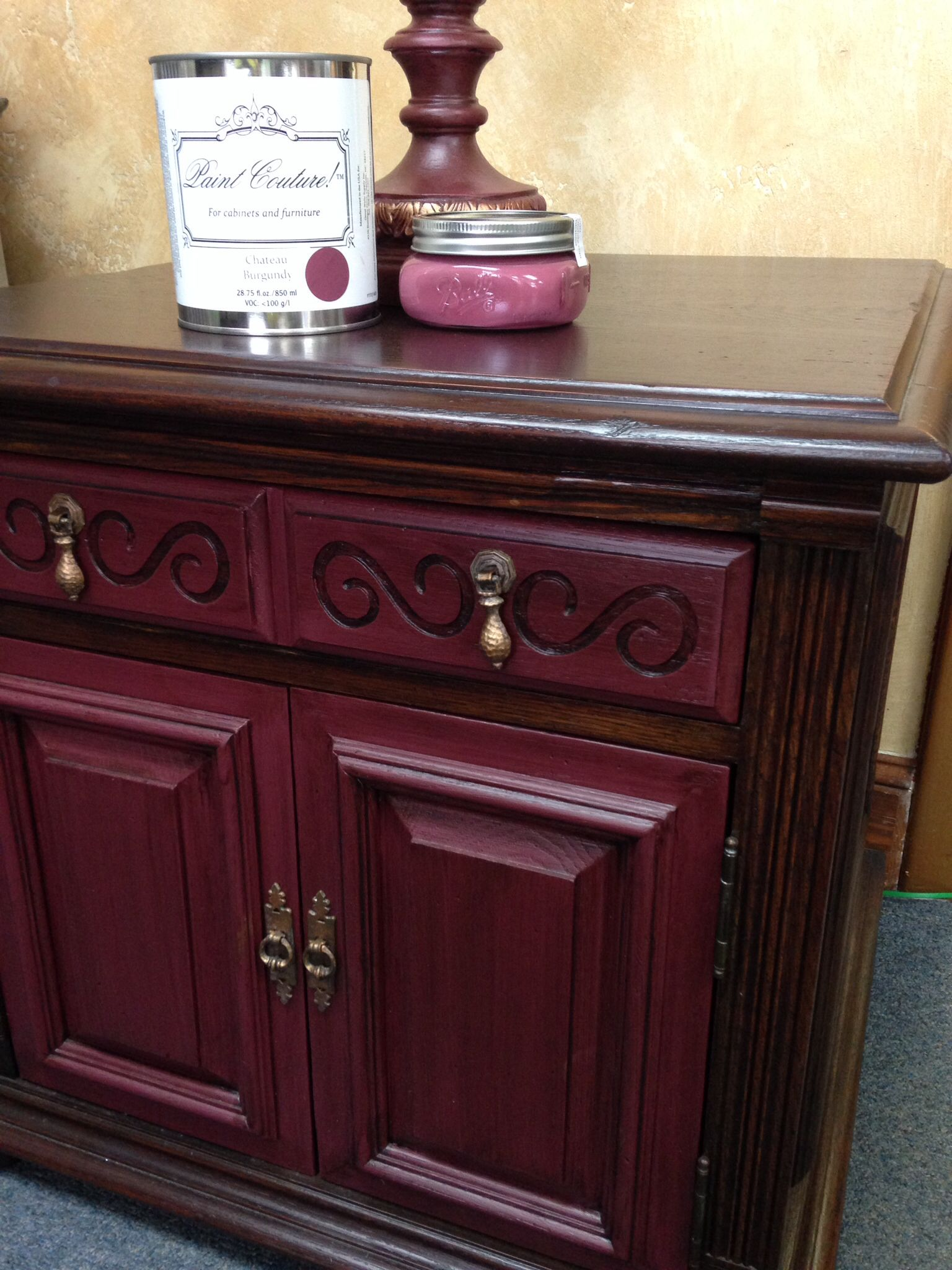Painted Furniture In Cau Burgundy Paint Couture Tm Glazed With Rich Mahogany Glaze On The Wood Top Used This As A Stain