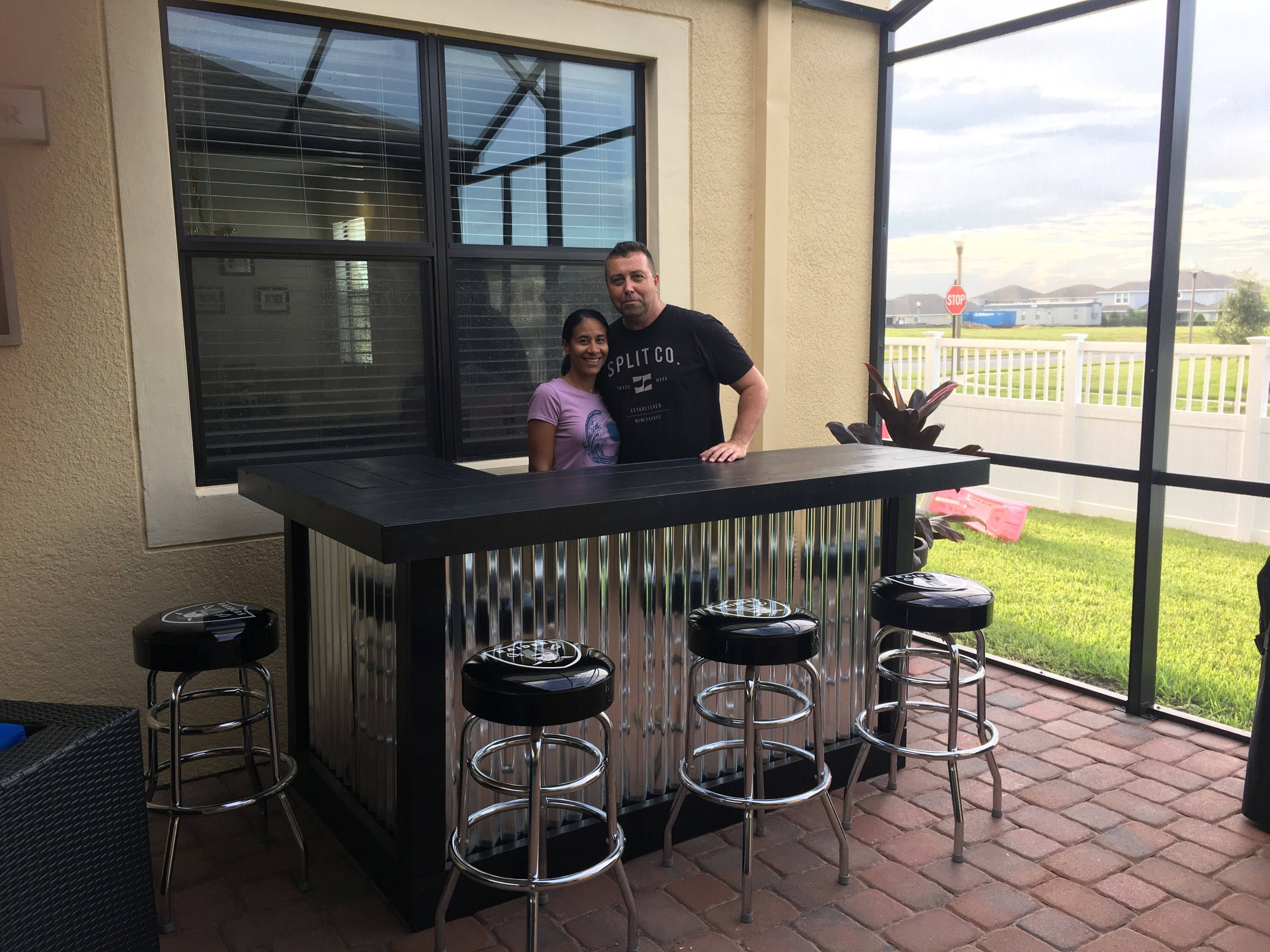 The Silver and Black 7 x 4 outdoor patio bar or indoor dry bar