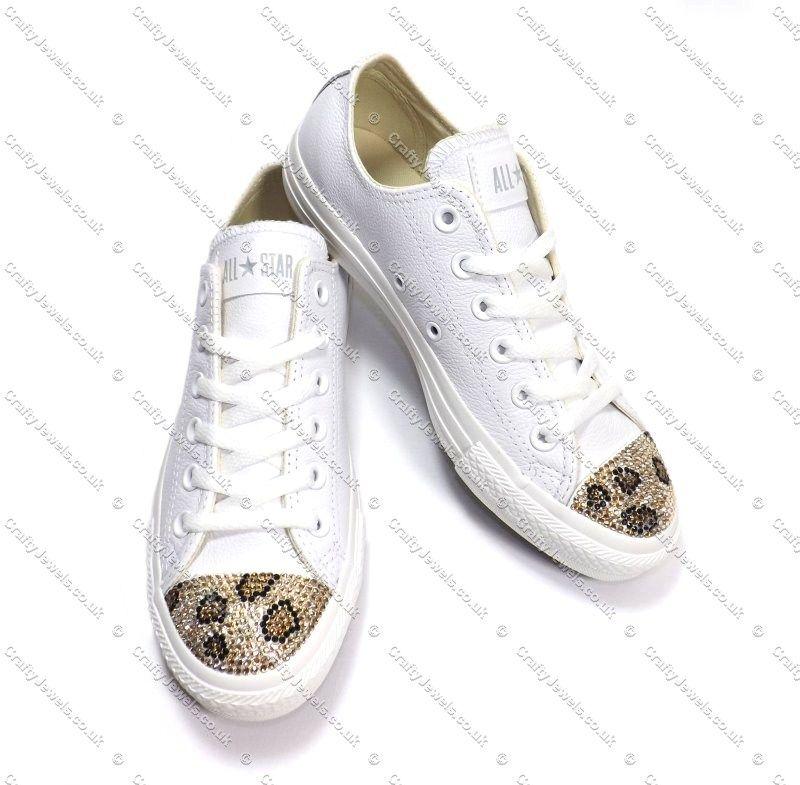 36ec9774f576d7 Swarovski or Diamante Crystal Adult Lo Top Converse With Leopard Print Caps