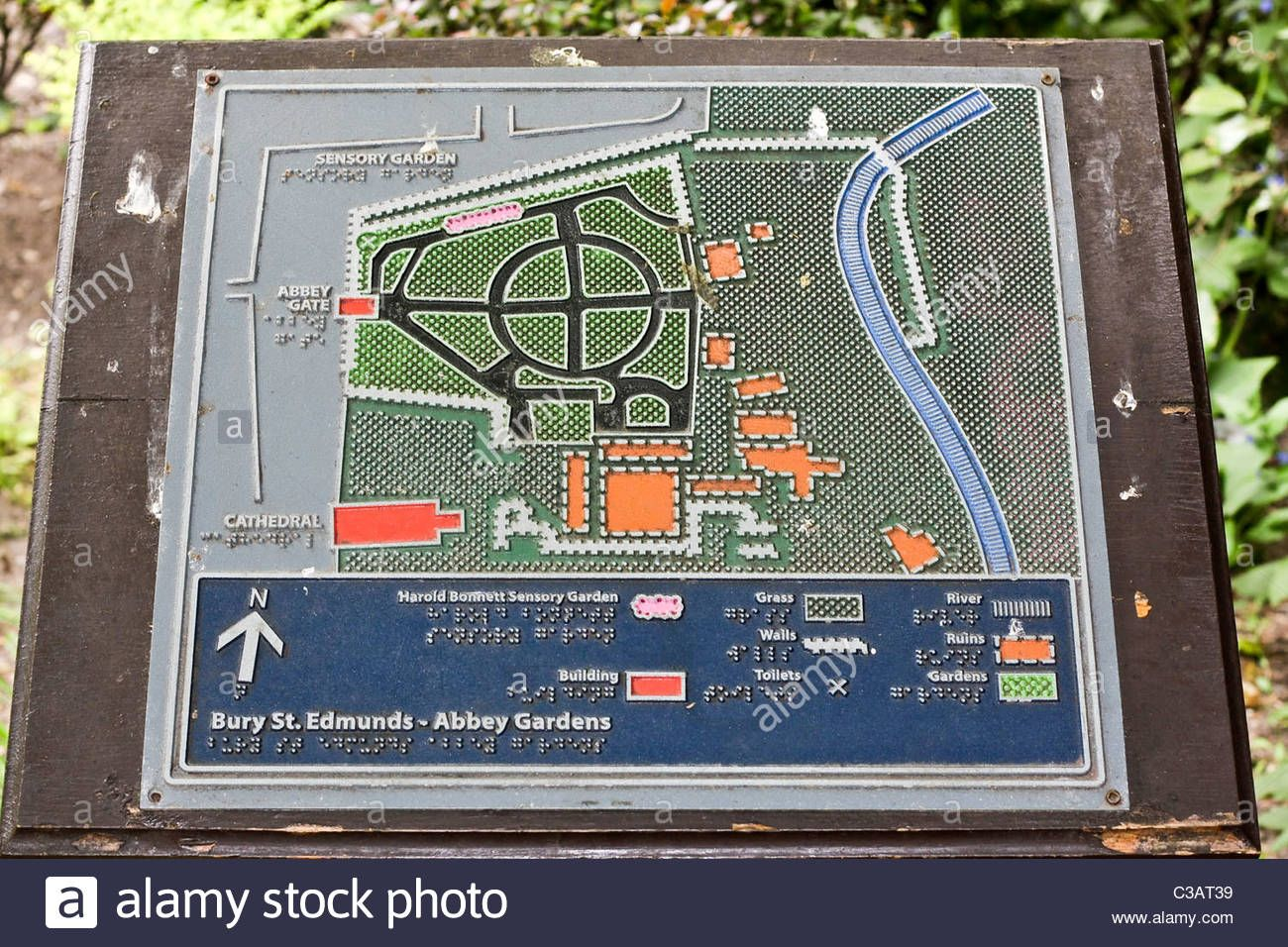 Braille map and guide in the Abbey Gardens Bury St Edmunds Stock