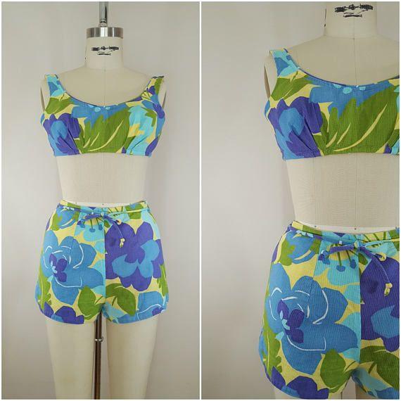 Vintage 1950s Bikini / Cotton Waffle Weave Bikini / Blue Green Floral / XS