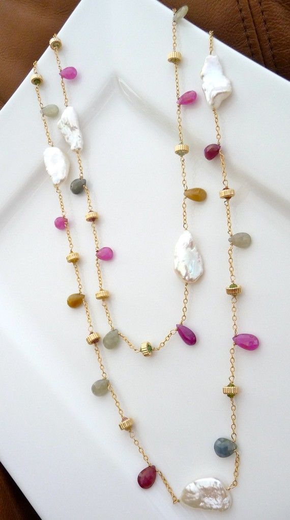 Marilyn Long Necklace Sapphire Biwa Pearl by luxurybyvera on Etsy