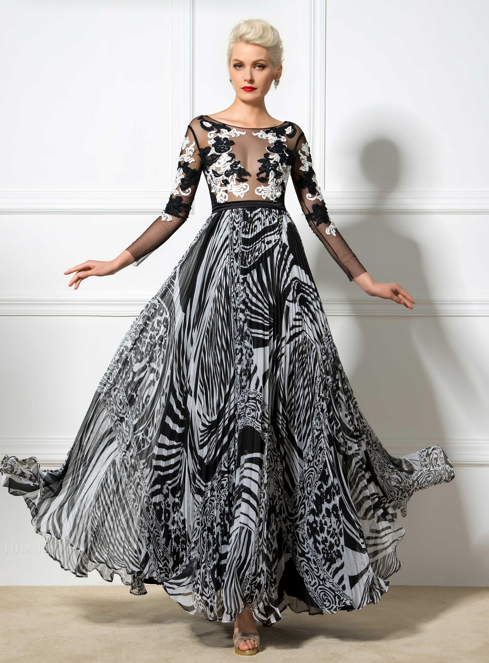 Charming ALine Printed Long Sleeves Evening Dress