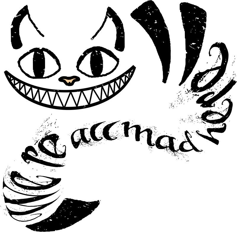 Cheshire Cat We Re All Mad Here Sticker By Oddfiction In 2021 Cheshire Cat Art Cheshire Cat Tattoo Cheshire Cat Drawing