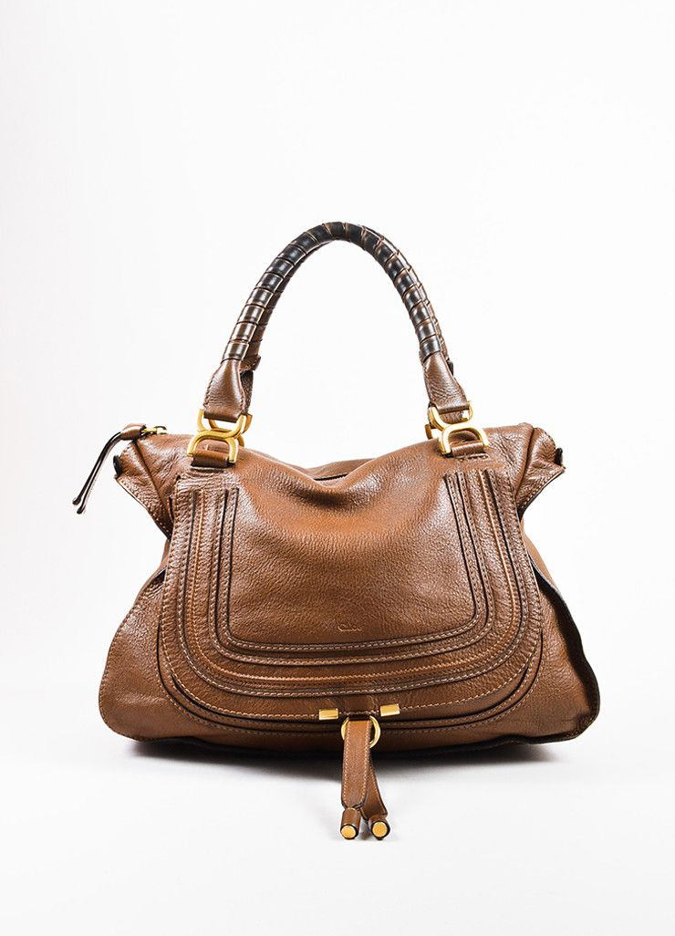 1c0439f729aa Chloe Brown and Gold Toned Leather Large Top Handle