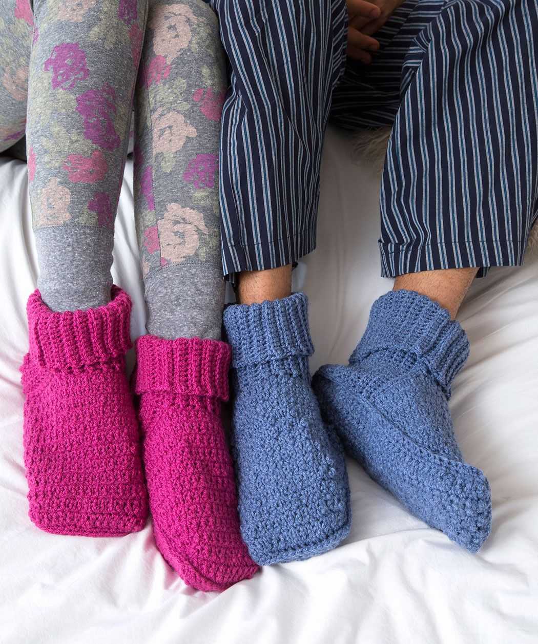 His & Her Slippers Free Crochet Pattern in Red Heart Yarns (UK terms ...