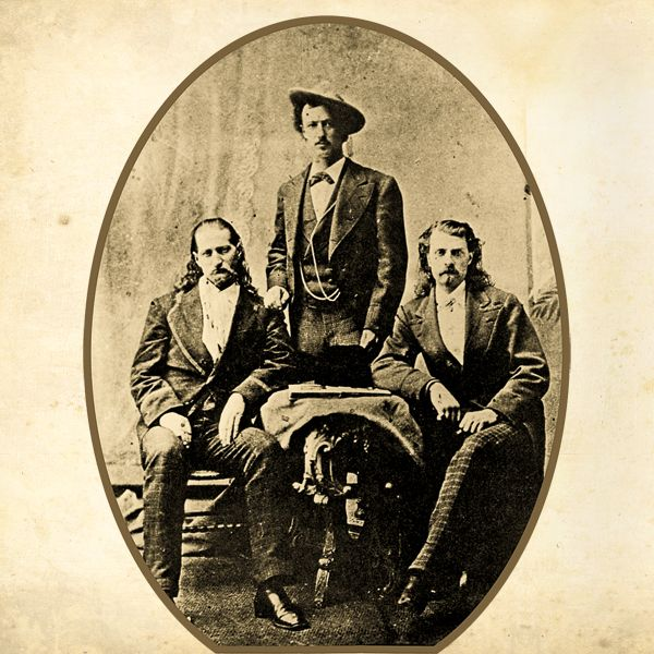 "In April 1872, William F. ""Buffalo Bill"" Cody (at right) and John Baker ""Texas Jack"" Omohundro (center) were the lead scouts in an Indian skirmish that earned Cody the Medal of Honor. That December, the pair began acting out their scouting adventures on the stage, in ""The Scouts of the Prairie."" In September 1873, Wild Bill Hickok (at left) joined them in the renamed ""Scouts of the Plains.""   - Courtesy Library of Congress -"